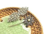 Hair Clip Set - Crystal Rhinestone Wedding Bridal Hair Clip, Veil Clip, Juliet Cap Veil Clip, Bridesmaid Hair Clip Gift