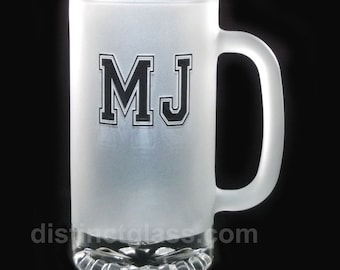 Gifts for Birthday Gifts for Men - FROSTED 2-INITIAL MONOGRAM Beer Mugs - Frosted Beer Mugs with Initials - 16oz Distinct Glass Ships Canada