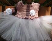 Crochet Tutu Dress in Med. Rose with Multicolor  Tulle Skirt for 3-6 Month Old Baby Girl