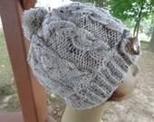 Knitted Beanie In Aran Fleck with Pompom