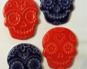 Mosaic Tiles-4- Day of the dead ceramic tiles/ sugar skull tiles to mosaic/ art ceramic (Tiles to mosaic)