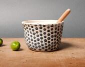 bowl danish black dots unique vessel poterie keramik polli pots handmade studio white pottery scandinavian