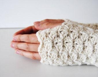 White fingerless gloves, crocheted, handmade, ready to ship