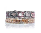 Bohemian style multistrand beaded bracelet - friendship bracelet cuff - boho chic jewelry - bohemian bracelet - layering bracelet