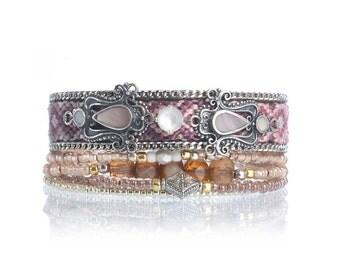 SALE Bohemian style multistrand beaded bracelet - friendship bracelet cuff - boho chic jewelry - bohemian bracelet - layering bracelet