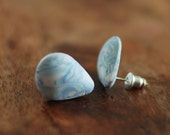 Blue posts, drop shaped studs marble with white post earrings
