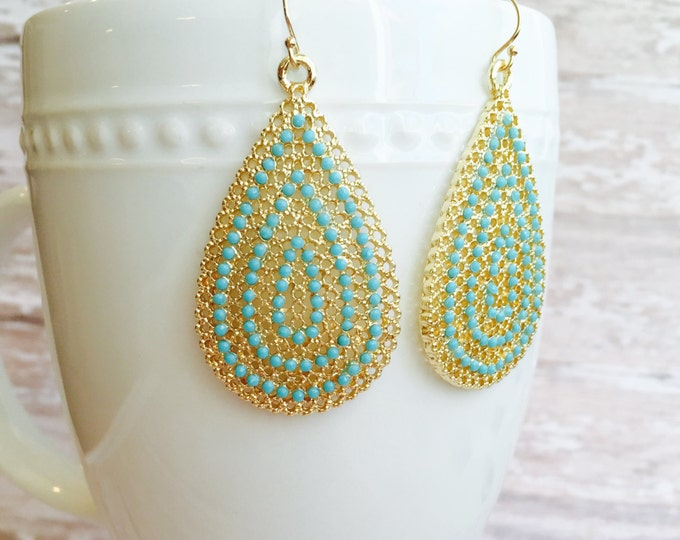 Large Turquoise and Gold Dangle Earrings