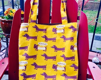 For Charity Reusable Dachshund Hot Dog Frank Flannel Market Bag Grocery Bag Tote Bag for Animal Rescue