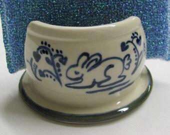 Sponge Rest Cell Phone Holder Kitchen Sponge Holder Ceramic Pottery Handmade Pottery Blue and White Gift Idea Stoneware   Blue  Bunny Design