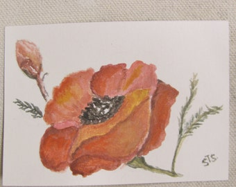 ACEO Original Watercolor Poppie Flowers with Display Magnet Frame