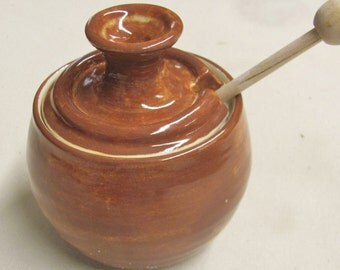 Jar Jam Jar Honey Pot Ceramic  Lidded Jar Sugar Bowl Handmade Pottery Brown Kitchen  Stoneware Ceramic Kitchen Storage