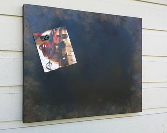 Magnetic ChalkBoard, aged and distressed finish, sheet metal with rusty nails over a box style frame, choose rusted metal or chalkboard
