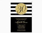 Gold 30th Birthday Party Invitation, Black and White Stripes, 30th Birthday Invitation, Milestone Birthday, Printable Invitation