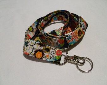 Fabric Lanyard, ID Badge Holder, Sugar Skull, Day of the Dead, Skull, Keychain