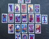 "Dollhouse Tarot Cards, 1:12 Tarot Cards, Dollhouse Wiccan, Dollhouse Witch, Scale 1"" Dolls House Miniatures"