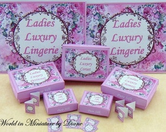 Dollhouse Tutorial Lingerie Boxes, Dollhouse Digital Download 1:12 Ladies Underwear Boxes Kit, Pink Rose Gift Boxes