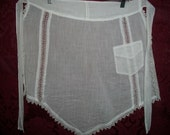 Antique Victorian Edwardian Fine Cotton Apron