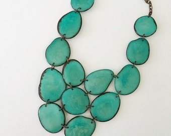 Tagua necklace / Turquoise bib necklace / Tagua / gift for women / tagua nut jewelry // bib statement necklace // Teal, Blue, Aqua - Charity