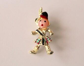 Scottish Man Pin/Brooch- Vintage 1950's Costume Jewelry