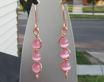 KATHY - Wire Wrapped Pink Glass Cats Eye in Copper - Feminine Earrings, Casual Elegance, Teen Jewelry
