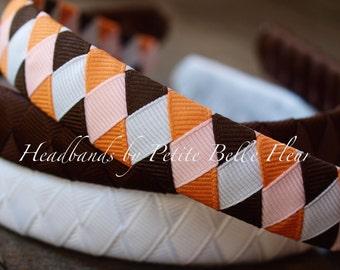 Grosgrain Ribbon Headbands | Orange and Brown Headbands | Fall Colors Hair Accessory | Solid Brown Headband | Solid White Headband