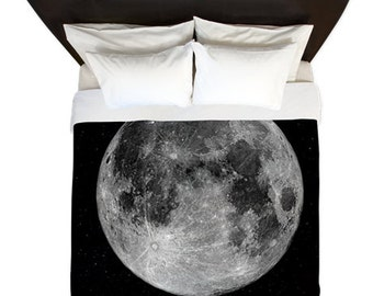 MOON Duvet Cover/ Space / Bedding/ Comforter Cover/ Twin, Queen, King/ Made To Order/ Space/ Galaxy / boys room/ moon duvet cover