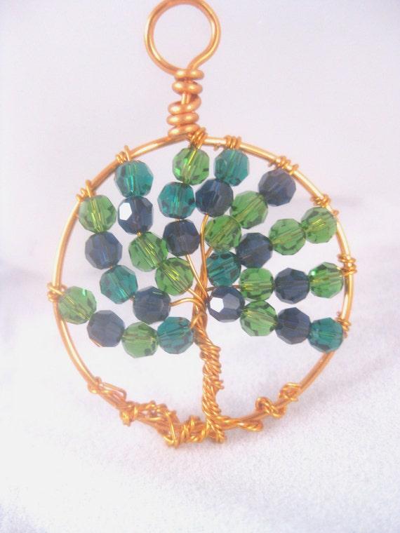 Copper Wire Wrapped Tree of Life Pendant with Emerald and Dark Indigo Swarovski Crystals