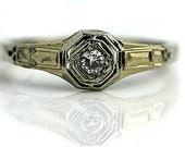 Antique Art Deco Engagement Ring 18K Two Tone .12ctw Vintage Ring Petite Diamond Wedding Ring Diamond Promise Ring Size 5!