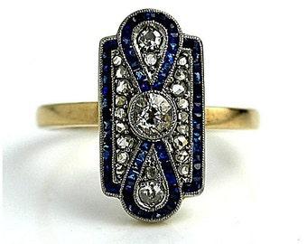 Vintage Sapphire Engagement Ring Square Cut Blue Sapphire Diamond Filigree Rose Cut Engagement Ring Platinum 18K Gold Engagement Ring!