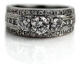 Vintage Diamond Wedding Ring Set 1.56ctw Art Deco Style Engagement Ring  14Kt White Gold Wedding
