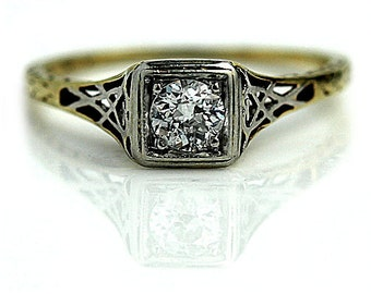Art Deco Diamond Engagement Ring in Two Tone 14k Gold Old European Cut Vintage Ring Size 6!