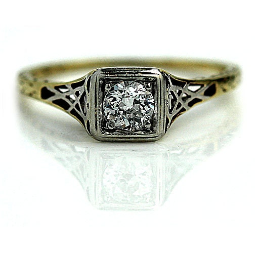 deco engagement ring 20ctw solitaire antique promise ring