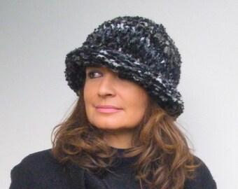 Fall Slouchy beanie hat Mélange gray Women hat Italian style Fall winter women fashion Knit crochet woman hat Bouclé wool Women gift