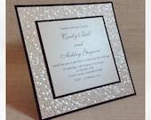 Black & Ivory / White Pebble Embossed Wedding Invitation SAMPLE