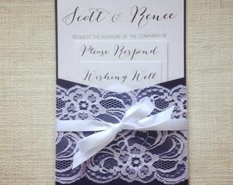Wedding Invitation Navy and White Lace pocket wedding invitations - 50 invitations