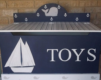 Navy White Saiboats, Kids & Baby, Nautical, Nursery, Toy Box, Bench, Whales, Toy Bin. Toy Storage, Custom Wood Hand Painted  Kids Furniture