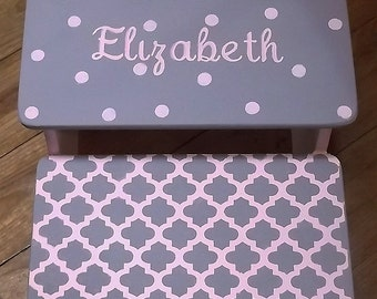 Steps stools, Kids Nursery Decor,  Pink Grey,  Elephants,  Bench,  Kids Furniture, Custom Personalized