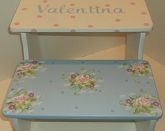Custom Benches Step Stool PINK Blue Roses Savannah  STEPSTOOL Baby Bedding Match  Bench  Kids Furniture and Decor