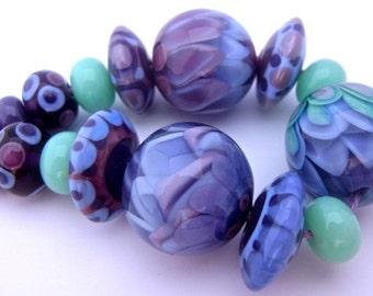 Cool Breeze - Handmade Lampwork Bead Set (15) by Anne Schelling, SRA