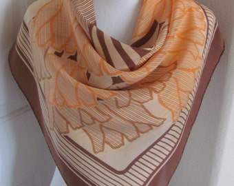 "Jeanne Lanvin Scarf Paris // Beautiful Brown Orange Ladies Silk Scarf // 30"" Inch 76cm Square // OMG My Fav"