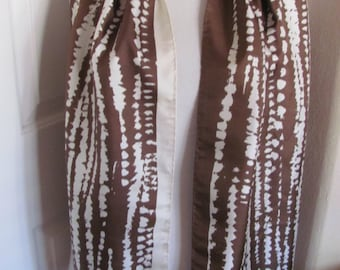 """Beautiful P.A.S. // Brown White Vintage Silk Scarf // 15"""" x 62"""" Long - Best of the Best"""
