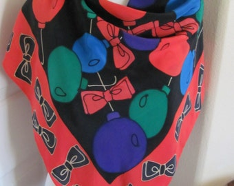 """Nordstrom // Black Red Christmas Ornaments Painted Silk Scarf  // 36"""" Inch 92cm Square // Best of the Best"""