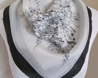 """White Black Floral Soft Silky Scarf // 22"""" Inch 56cm Square NWT"""