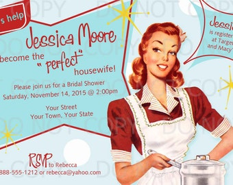Printable DIY Retro Housewife Theme Bridal Shower Party Invitation - redhead girl