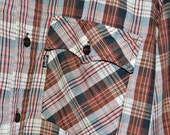 ON SALE Vintage LEVI'S Levis Made in Usa Brown Button Up Plaid Shirt M Medium Chocolate Tones