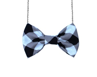 Tan Black Palid Bow-tie Necklace, Bowtie for Women, Girls - 18-20 inches Chain - Casual, Bohemian, Party, Wedding, Gift