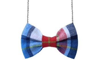 Usa Plaid - Red Blue White Bow Tie Necklace, Girls BowTie Accessory, Bow Striped Necklace