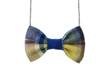 Blue Yellow Linen Plaid - Bow Tie Necklace, Girls BowTie Accessory, Bow Striped Necklace, Vintage Inspire Women Gift