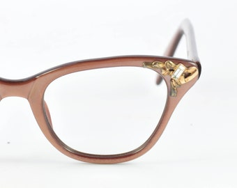 Vintage Cat Eye Glasses, Victory, Bronze with Gold and Rhinestones, 1950s, 1960s