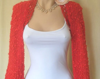 SALE Women BOLERO SHRUG / Wedding Bridal Accessories Cape Hand Knitted Gift Ideas / Bridesmaid Crochet Elegant Jacket Capelet Chic Cardigan
